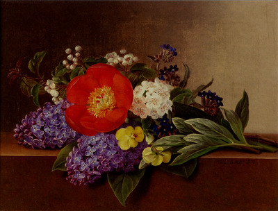 Jensen Johan Laurentz Lilacs Violets Pansies Hawthorn Cuttings And Peonies On A Marble Ledge