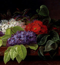 Jensen Johan Laurentz White And Purple Lilacs Camellia And Beech Leaves On A Marble Ledge