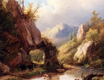 Klombeck Johann Bernhard A Mountain Valley With A Peasant And Cattle Passing Along A Stream