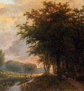 Klombeck Johann Bernard A Wooded River Valley With Peasants On A Path