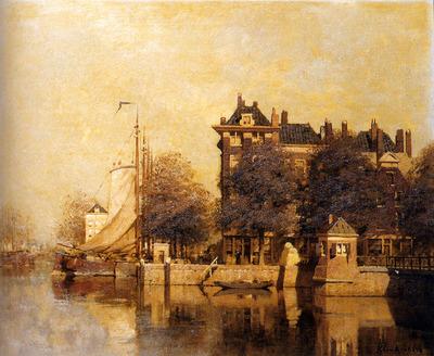 Klinkenberg Johannes Christaan Karel Moored Sailing Vessels Along A Quay Amsterdam