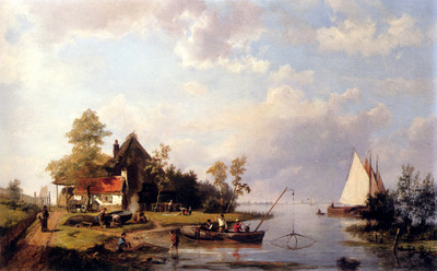 Koekkoek Hermanus A River Landscape With A Ferry And Figures Mending A Boat