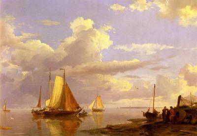 Koekkoek Hermanus Fishing Boats Off The Coast At Dusk