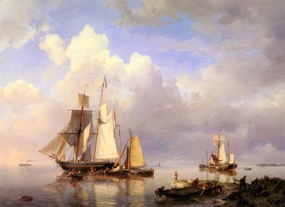 Koekkoek Hermanus Vessels At Anchor In Estuary With Fisherman