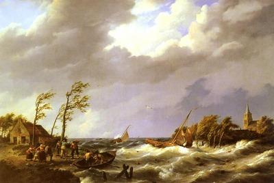 Koekkoek Johannes Hermanus Dutch fishing Vessel caught On a Lee Shore With Villagers