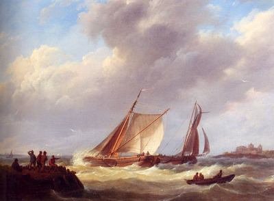 Koekkoek Johannes Hermanus Fishermen On A Jetty Overlooking A River Estuary