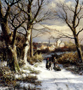 Koekkoek Johannes Hermanus Barend Figures On A Snowy Road