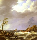 Koekkoek Johannes Hermanus Dutch fishing Vessel caught On a Lee Shore With Villagers
