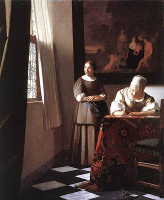 Vermeer Lady Writing a Letter with Her Maid