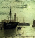 Grimshaw John Atkinson The Lighthouse At Scarborough