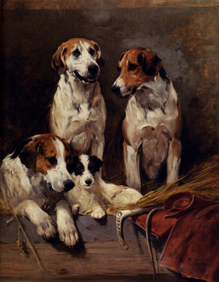 Emms John Three Hounds With A Terrier