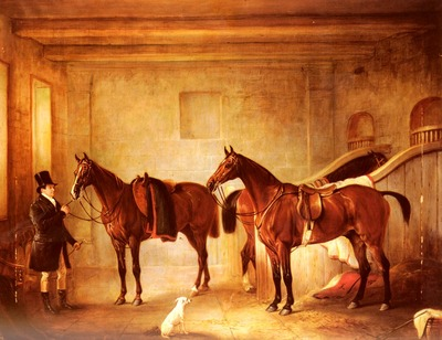 Ferneley John Sir John Thorold Bay Hunters With Their Groom In A Stable