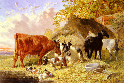 Herring Jnr John Frederick Horses Cows Ducks and a Goat By A Farmhouse