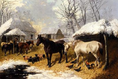 Herring John Frederick A Farmyard Scene In Winter