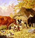 Herring Jnr John Frederick Horses Cows Ducks and a Goat By A Farmhouse