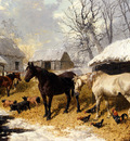 Herring John Frederick A Farmyard Scene In Winter