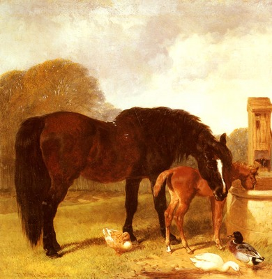 Herring Snr John Frederick Horse And foal Watering At A Trough