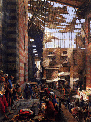 Lewis John Frederick A View Of The Street And Morque Of Ghorreyah Cairo