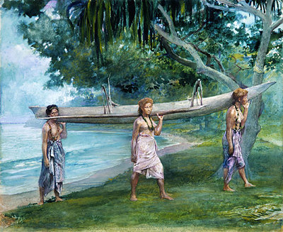 La Farge John Girls Carrying A Canoe Vaiala In Samoa