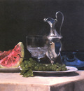 Still life study of silver glass and fruit