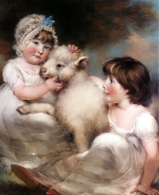 Russell John Portrait Of Miss E And Miss L Earle With A Lamb