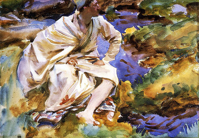 Sargent John Singer A Man Seated by a Stream Val d Aosta Purtud