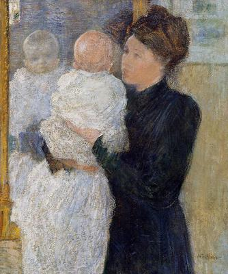 Twachtman John Mother and Child