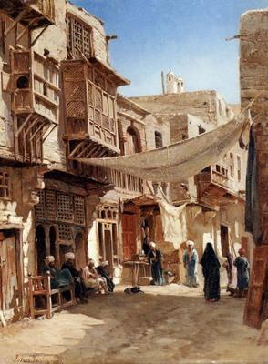 Varley John A Street In Boulaq Near Cairo