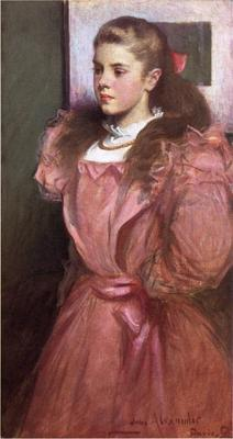 Alexander John White Young Girl in Rose aka Portrait of Eleanora Randolph Sears