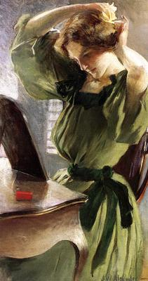 Alexander John White Young Woman Arranging Her Hair