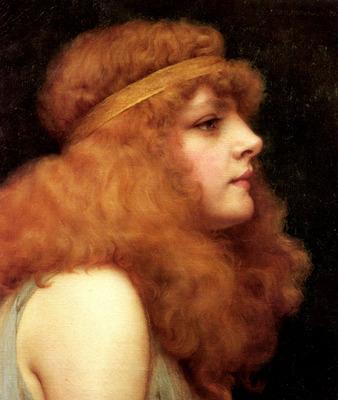 Godward John William An Auburn Beauty