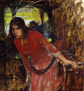 Waterhouse John William Study For The Lady Of Shallot detail