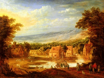Momper Joos De An Extensive River Landscape With Travellers Approaching A Village