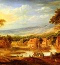 Momper Joos De An Extensive River Landscape With Travellers Approaching A Village