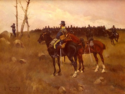 Cusachs Jose Cusachs y Soldiers On Horseback