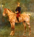 Cusachs Jose Cusachs y A Portrait Of Alfonso III On Horseback