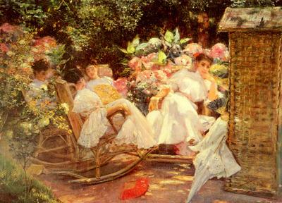 Cordero Jose Villegas Y Ladies In A Garden