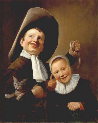 LEYSTER Judith A Boy And A Girl With A Cat And An Eel