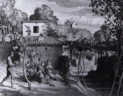 SCHNORR VON CAROLSFELD Julius The View Of The Archpriest In Olevano