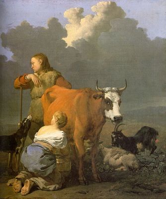 Woman Milking a Red Cow WGA