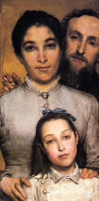 Alma Tadema Portrait of Aime Jules Dalou his Wife and Daughter