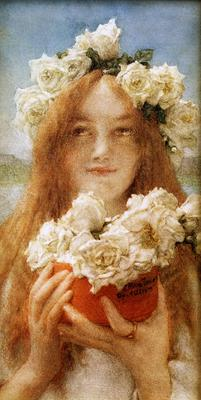 Alma Tadema Summer Offering Young Girl with Roses