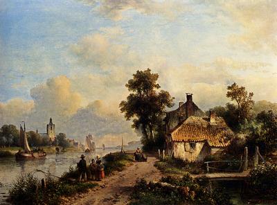 Kleijn Lodewijk Johannes A Summer Landscape With Figures Along A Waterway