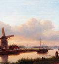 Kleijn Lodewijk Johannes A Paroramic Summer Landscape With Barges On The Trekvliet