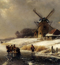 Kleijn Lodewijk Johannes Figures On AFrozen Waterway By A Windmill
