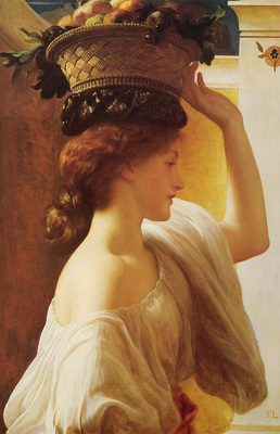 Leighton Eucharis A Girl with a Basket of Fruit