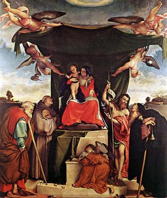 lotto lorenzo madonna and child with saints