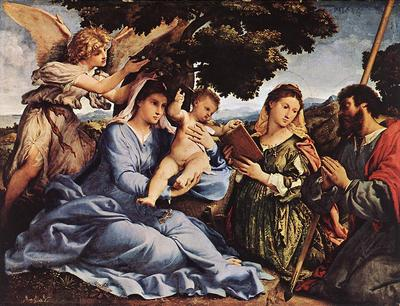 lotto lorenzo madonna and child with saints and an angel 1527