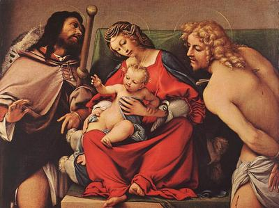 Lotto Lorenzo Madonna with the Child and Sts Rock and Sebastian c1522
