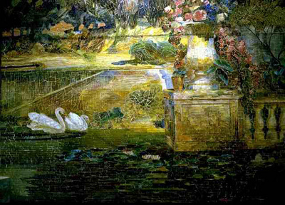Tiffany Mosaic Fountain  Detail of swans